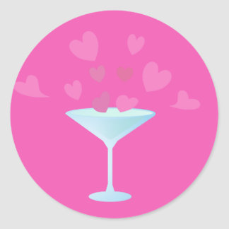 Martini Glass and Pink Hearts Classic Round Sticker