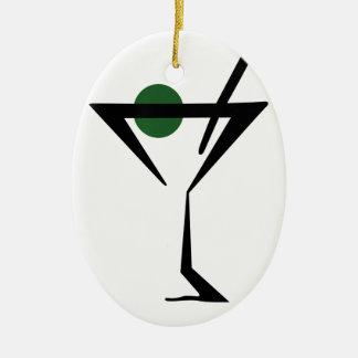 Martini Glass Ceramic Ornament