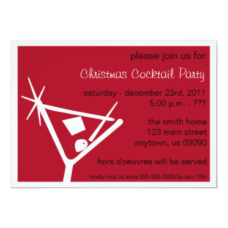 Martini Glass Christmas Invitations (Burgandy)