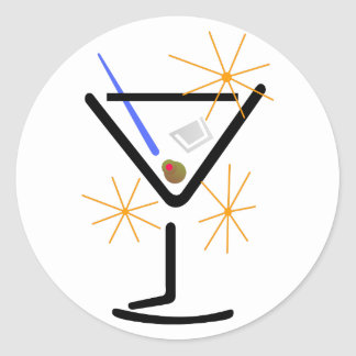Martini Glass Classic Round Sticker