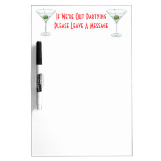 Martini Glass Cocktail Dorm Room Door Memo Dry Erase Board