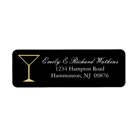Martini Glass Cocktail Label