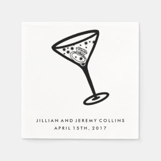 Martini Glass Engagement or Wedding Napkins