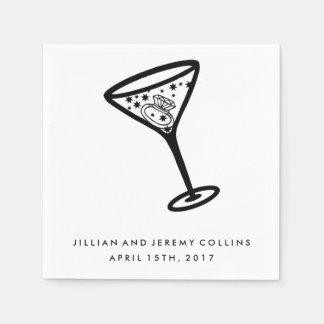 Martini Glass Engagement or Wedding Napkins Paper Napkin