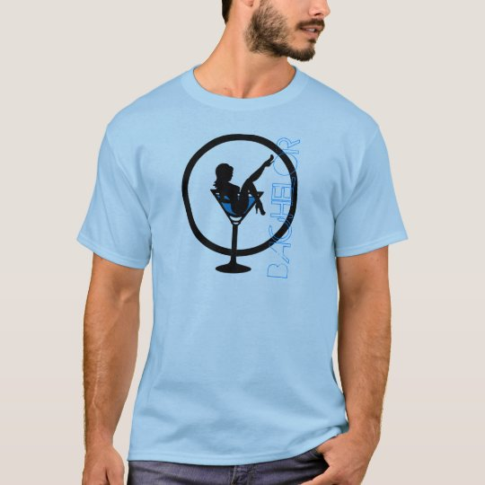 Martini glass girl silhouette blue bachelor tee