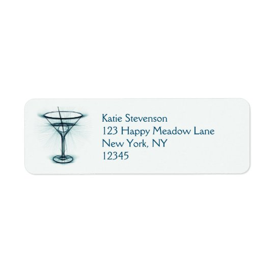 Martini Glass Sketch Return Address Label