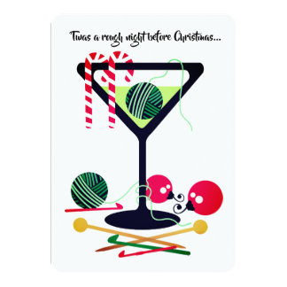 Martini knitting crochet yarn Christmas card