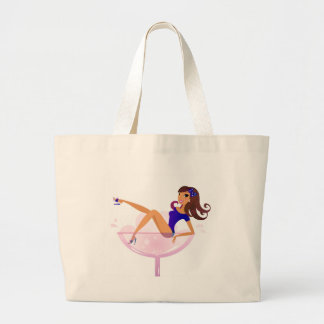 Martini luxury Girl in Glass Large Tote Bag
