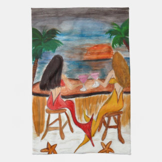 Martini Mermaids art kitchen and bath hand towels