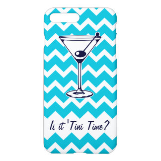 Martini Pictogram with Blue Chevron Pattern iPhone 7 Plus Case