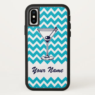 Martini Pictogram with Blue Chevron Pattern iPhone X Case