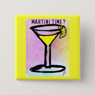 MARTINI TIME LEMON DROP PASTEL PRINT by jill 2 Inch Square Button