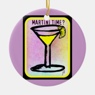 MARTINI TIME LEMON DROP PRINT ROUND CERAMIC ORNAMENT