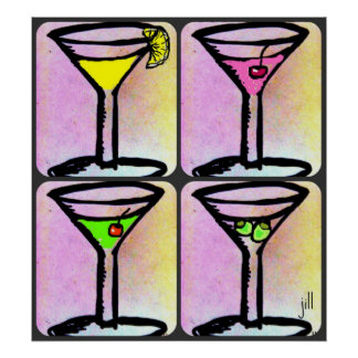 MARTINI TIME PASTEL ART PRINT by Jill