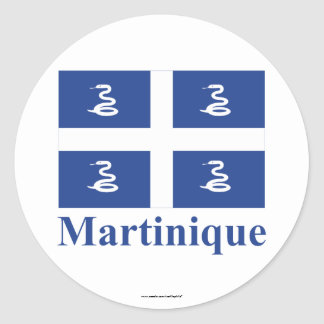 Martinique Flag with Name Classic Round Sticker