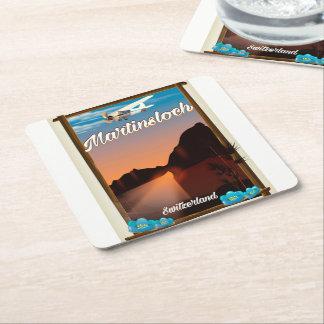 Martinsloch Switzerland travel poster Square Paper Coaster