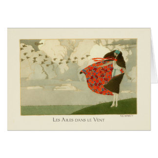 Marty Vintage Art Deco Fashion Wings in the Wind Card