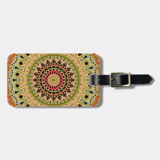 Marty Vintage Orange and Tan Kaleidoscope Luggage Tag