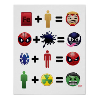 Marvel Emoji Character Equations Poster