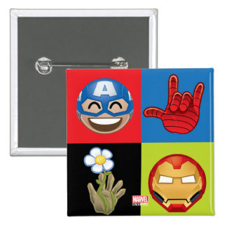 Marvel Emoji Characters Grid Pattern 2 Inch Square Button