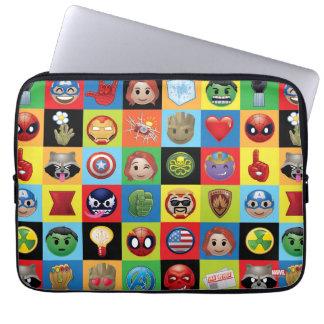 Marvel Emoji Characters Grid Pattern Laptop Sleeve