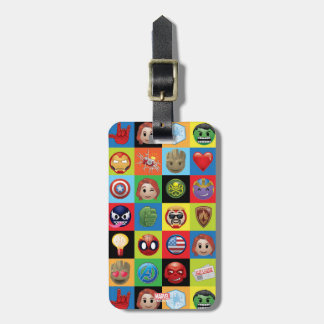Marvel Emoji Characters Grid Pattern Luggage Tag