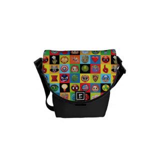Marvel Emoji Characters Grid Pattern Messenger Bag