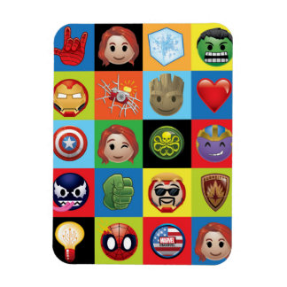Marvel Emoji Characters Grid Pattern Rectangular Photo Magnet