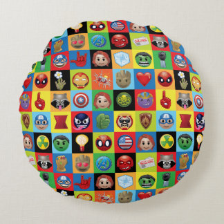 Marvel Emoji Characters Grid Pattern Round Pillow