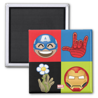 Marvel Emoji Characters Grid Pattern Square Magnet