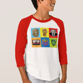 Marvel Emoji Characters Grid Pattern T-Shirt