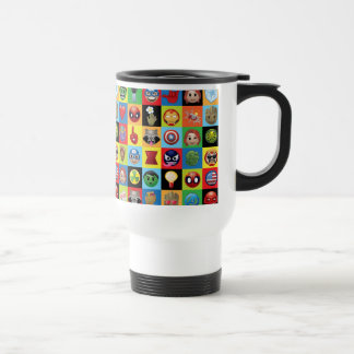 Marvel Emoji Characters Grid Pattern Travel Mug