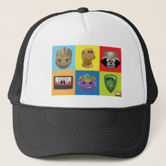 Marvel Emoji Characters Grid Pattern Trucker Hat