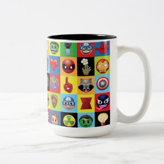 Marvel Emoji Characters Grid Pattern Two-Tone Coffee Mug