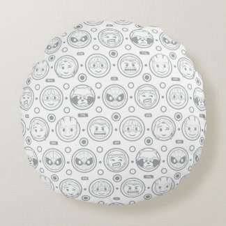 Marvel Emoji Characters Outline Pattern Round Pillow