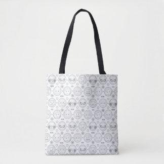 Marvel Emoji Characters Outline Pattern Tote Bag