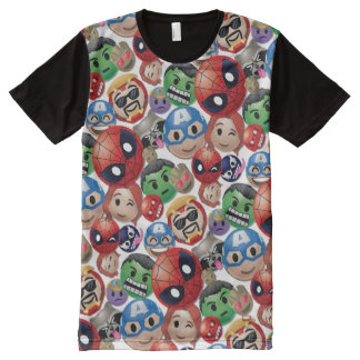 Marvel Emoji Characters Toss Pattern All-Over-Print T-Shirt