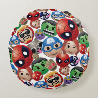 Marvel Emoji Characters Toss Pattern Round Pillow
