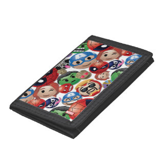 Marvel Emoji Characters Toss Pattern Trifold Wallets