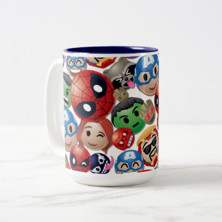 Marvel Emoji Characters Toss Pattern Two-Tone Coffee Mug