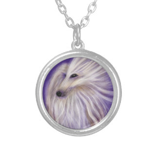 MARVELOUS AFGHAN HOUND BY DIVINA SILVER PLATED NECKLACE