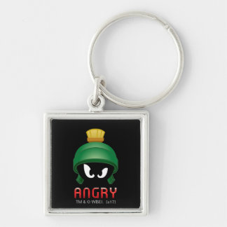 MARVIN THE MARTIAN™ Angry Emoji Silver-Colored Square Keychain