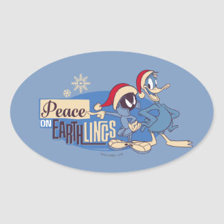 MARVIN THE MARTIAN™- Peace On Earthlings Oval Sticker