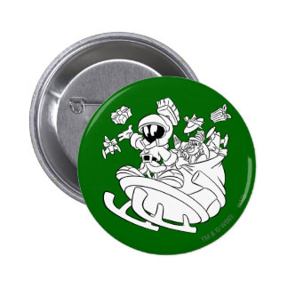 MARVIN THE MARTIAN™ with toys on space sled 2 Inch Round Button