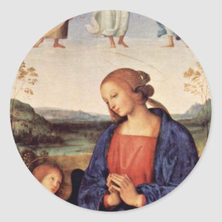 Mary Adoring The Child With The Archangel Gabriel Round Sticker