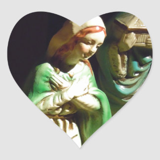 Mary and Baby Jesus Heart Sticker