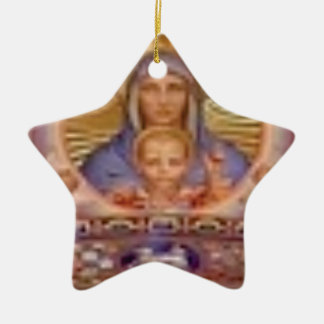 mary and child art ceramic ornament