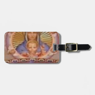mary and child art luggage tag