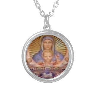 mary and child art silver plated necklace