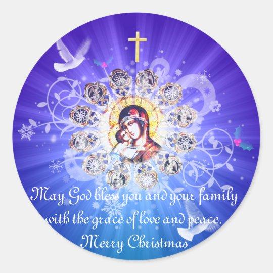 Mary and Jesus Classic Round Sticker